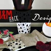 Άσπρο βάζο με μαύρες βούλες - H&M hack